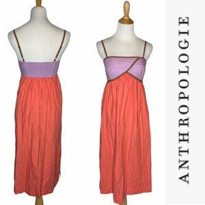 Anthropologie Orange + Purple Quilted Midi Dress s